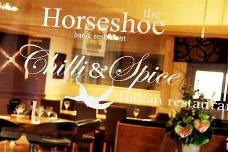 The Horseshoe Bar and Restaurant - Three Course Indian Meal For Two - Save 59%