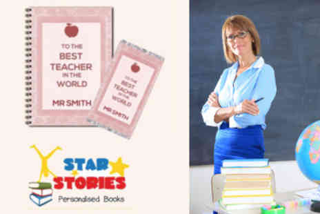 Star Stories - Personalised Best Teacher in the World Notebook & Chocolate Bar - Save 50%