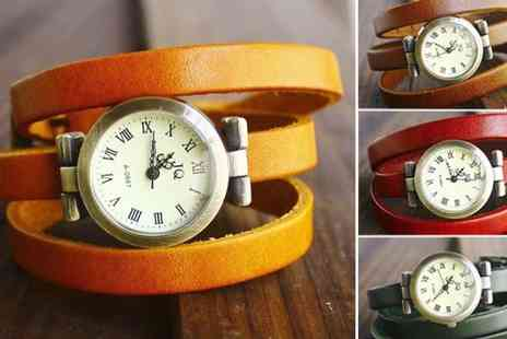 Dodally Buys - Faux Leather Wraparound Vintage Style Watch - Save 40%