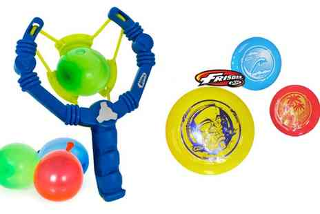 Wham O - Two Aqua Force Slingshots and 3 Frisbees - Save 33%