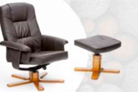 Grampian Furnishers - Monza swivel recliner chair in brown with footstool - Save 50%