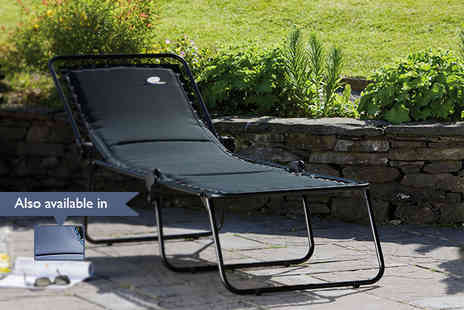 Hayes Garden World - Padded sun lounger with steel frame in a choice of colours - save 50% - Save 50%