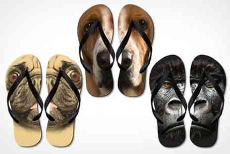 Printed Wardrobe - Big Faced Animal Flip Flops - Save 56%