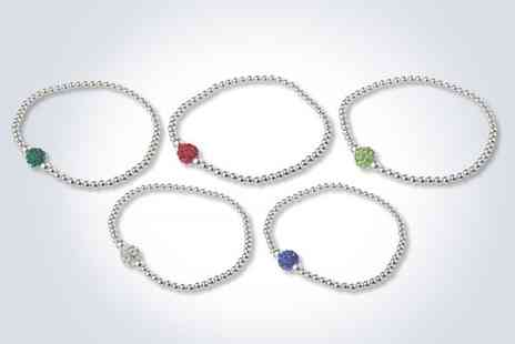The Real Silver Company - Beaded sterling silver bracelet with a crystal encrusted ball - Save 67%