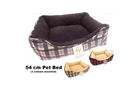 Pet Bed - Dog Bed Tartan Fleece - Save 55%