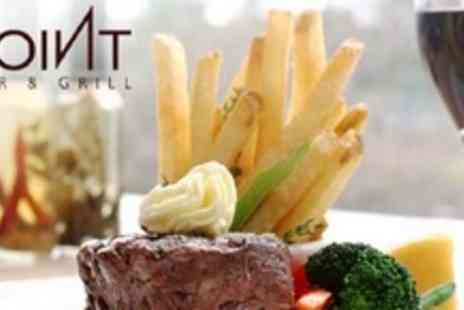 The Point Bar and Grill - Matured Steak and Chips For Two With Large Glass of Wine - Save 52%