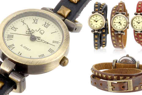 RedHotDealz - Ladies Vintage Leather Bracelet Watch in a choice of 3 colours - Save 68%