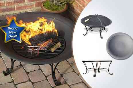 Garden Games - A black steel fire pit and classic stand - Save 73%