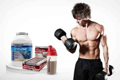 MaxiShop - 1.2kg Maximuscle of Cyclone Shake Powder and Twelve Promax Bars - Save 50%