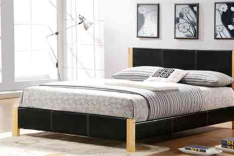 Heartland Furnitures - Tyler double bed frame with natural wood & faux leather - Save 48%
