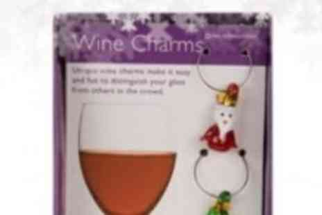 Xmas Decorations Car Boot  - Set of 4 Wine Charms - Save 67%