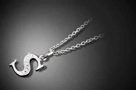Trinkets - 925 silver-plated initial necklace with crystals - Save 77%