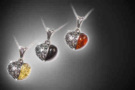 Henryka - Amber and silver scroll heart necklace from 3 colours - Save 58%