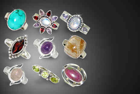Silver Willow - Silver Willow sterling silver gemstone ring from 14 designs - Save 74%