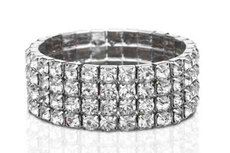Clear Crystal UK - Four Row Tennis Bracelet With SWAROVSKI ELEMENTS - Save 80%