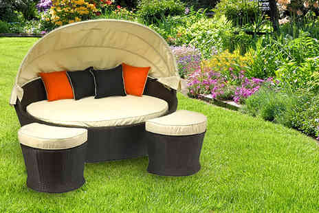 Amir - Three piece outdoor rattan daybed set 2 footstools & cushions - Save 53%