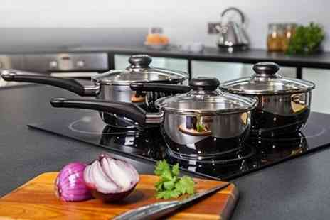 Deluxe Home Brands - Morphy Richards Equip Three Piece Stainless Steel Pan Set - Save 64%