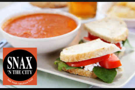 Snax 'n the city - Takeaway Soup and any Gourmet Sandwich - Save 50%