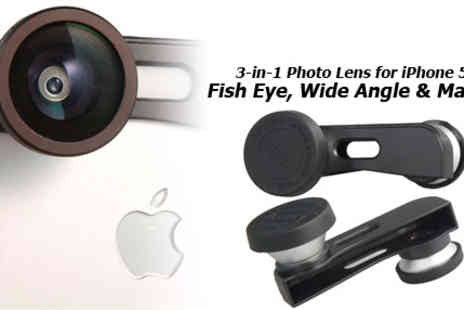 RedHotDealz - Fish Eye  Wide Angle & Macro 3 in 1 Photo Lens for iPhone 5 - Save 75%