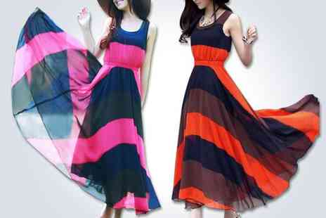EachBuyer - Beautiful striped chiffon maxi dress in orange - Save 50%
