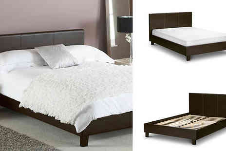 Express Living - Geneva luxury brown faux leather bed available in double & king size - Save 50%