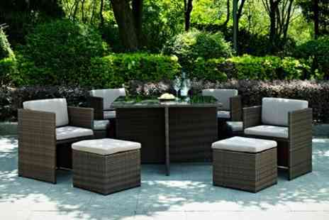 GRS Gadgets - Nine Piece Rattan Cube Dining Set - Save 71%