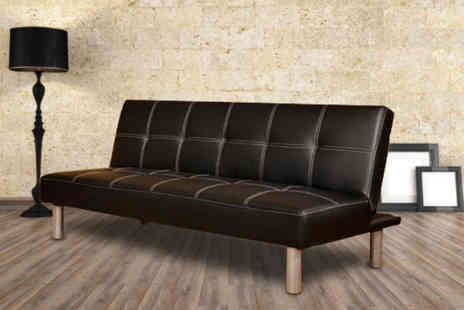 Furniture Deals - Black Cancun faux leather 3 seater sofa bed - Save 66%