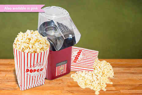 Sherwood Direct - Red or pink popcorn maker 500g popping corn & 5 cinema style bags - Save 48%
