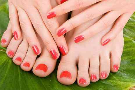 Essential Hair and Beauty -  Shellac manicure and pedicure - Save 68%
