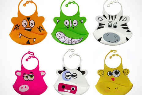 Bibisili - Two Adjustable Silicone Bibs with Crumb Catcher in Choice of Animal Designs - Save 50%