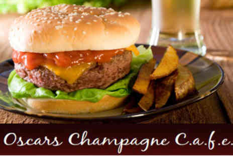 Oscars Champagne Cafe - 2 x Gourmet Burgers With Chips and a Bottle of Beer or Soft Drink - Save 50%