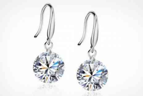 Clear Crystal UK - Sterling Silver Drop Earrings Made With Swarovki Element - Save 80%