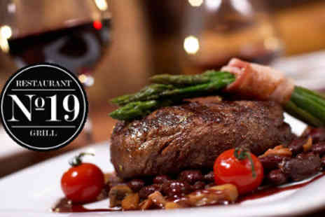 No. 19 Restaurant and Grill - Two Course Meal with Wine - Save 50%