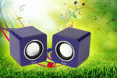 Up Global Sourcing - Two iLuve amplified portable stereo cube speakers - Save 25%