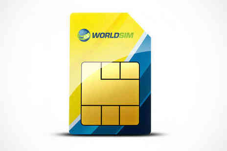 WorldSIM - Pay As You Go Global SIM Card for Roaming, International, and UK Calls with £10 Credit - Save 70%