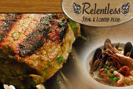 Relentless Steak & Lobster House - Ribeye Steak and Prawns Meal for Two - Save 46%