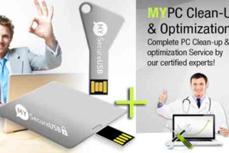 My Security Center - 16GB data encrypted military strength USB & PC Cleanup - Save 85%