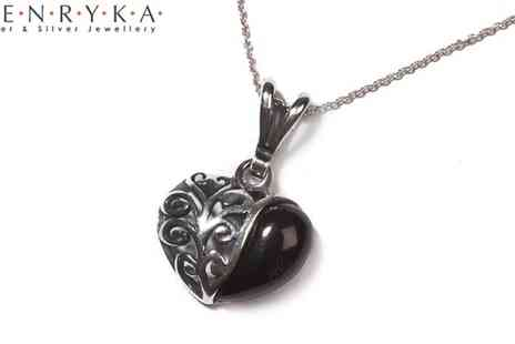 Henryka - Amber and Silver Half Scroll Heart Necklace - Save 48%