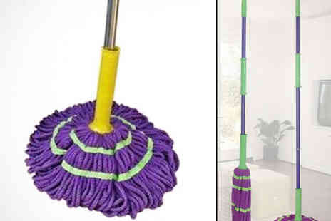Pink Basket - 360 Degree Magic Easy Squeeze Microfibre Mop - Save 76%