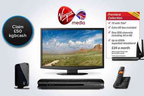 Virgin Media - Six months half price and free installation with Virgin Media Premiere Collection - Save 50%