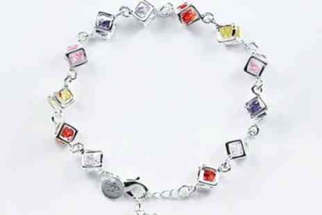 Wonder Gifts - Sterling silver bracelet with colourful crystals - Save 76%