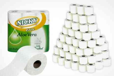 ebeez.co.uk - 45 Rolls of 3 Ply Aloe Vera Nicky Elite Toilet Paper - Save 40%