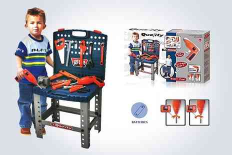 Deao Toys - kids 69 piece folding tool bench play set with electric drill - Save 49%