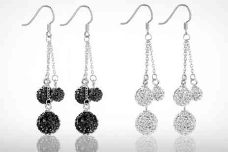 Dynergy - Dangling Shimla Crystal Fireball Silver Earrings - Save 65%