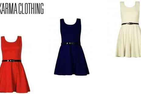 Karma Clothing - Belted Skater Dress in 10 Colours - Save 50%