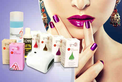 Millennium Nails - Home UV gel nail kit including UV lamp & 4 polishes - save 75% - Save 75%