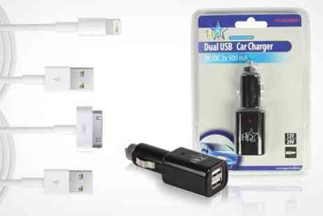 ASK Direct - Universal USB Car Charger With Sync Cables - Save 53%