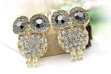 Russian Ice - Pair of crystal owl earrings made with Swarovski Elements - Save 98%