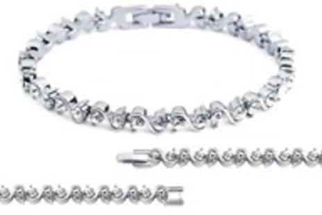 Jewel 2 Sell - White gold plated Swarovski crystal tennis bracelet - Save 90%