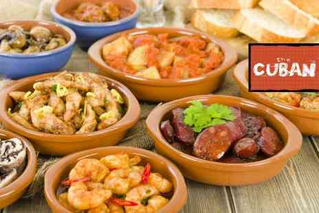 The Cuban Bar - Four tapas and any two main courses to share between two people - Save 63%